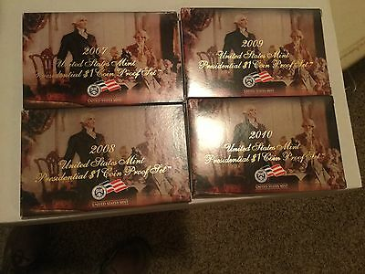 2007-2010 U.S. Mint Presidential Dollars 4-Coin Proof Sets