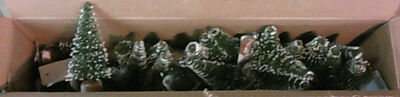 """NEW OPEN BOX 24pc Vickerman 5"""" Frosted Green Village Artificial Trees B811812"""