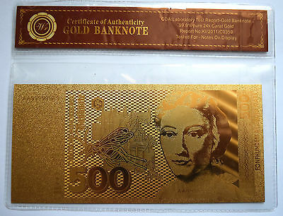 GERMANY / Deutschland: 500 Marks Banknote. Pure 24k Gold Plated. COA.
