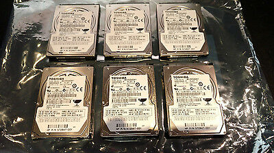 "Lot of 6 Toshiba 250GB 2.5"" Laptop Hard Drives  7200RPM MK2556GSY & MK2561GSYN"