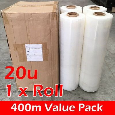 Shrink Stretch Wrap CLEAR Hand Film for Pallet 1 Roll Free postage [ 400m 20UM ]