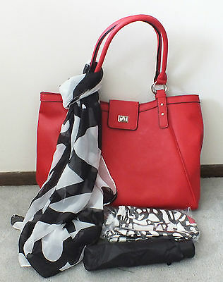 Women's set: red purse, cosmetic bag, umbrella & scarf