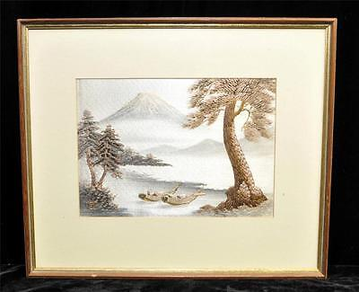 VINTAGE JAPANESE  SCENE SILK EMBROIDERY of MOUTAIN COAST W/ BOAT & TREES FRAMED