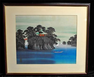 VINTAGE JAPANESE SAILBOATS with ISLANDS  SCENE SILK PAINTING SIGNED  FRAMED