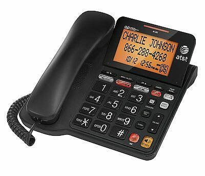 AT&T Corded Phone with 25 min Digital Answering Machine, Backlit Tilt Display