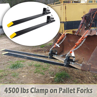 43'' LW Clamp on Pallet Forks 4500lbs Loader Tractor Bucket Skidsteer Heavy Duty
