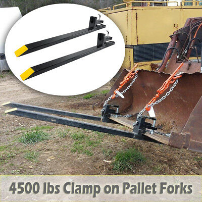 Pro 60'' 4500lbs Capacity Clamp On Pallet Forks Heavy Duty Loader Bucket Tractor