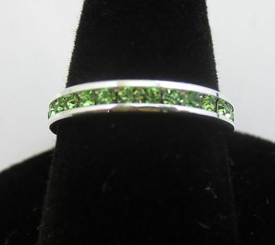 Size 7 Sterling Silver Plated Stackable August Peridot Wedding Eternity Ring