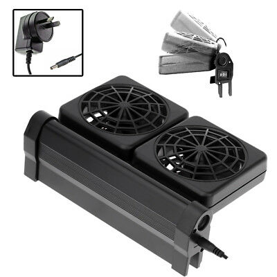 AU Aquarium Cooling Fan Water Fish Tank Cold Cool Wind Chiller 2 Heads 12V