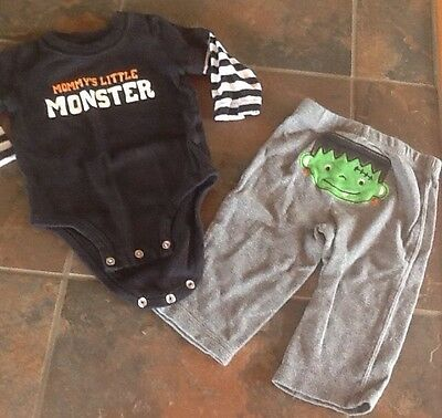 2 Pc CARTERS Mommy's Little Monster Halloween Outfit  6 mos