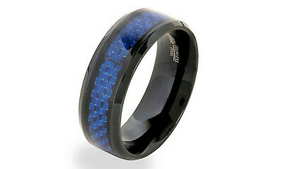 NEW Men's Black Plated Stainless Steel Blue Carbon Fiber Band Ring Sz7