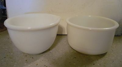 TWO vintage, white milk glass mixing bowls- one quart? A-1 clean condition