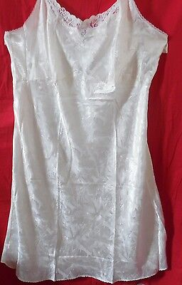 Size 54 Slip Chemise Nightgown Floral Ivory Adjustable Straps