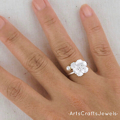 Handmade Hibiscus Flower & Pearl Size Adjustable Ring - Sterling Silver 925