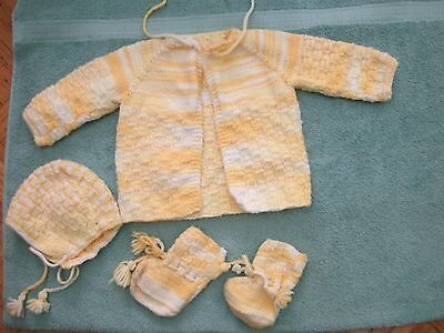 Handmade Baby Toddler knitted yellow shaded ombre sweater set Unisex girls boys