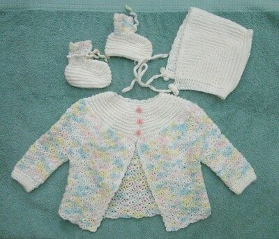 Handmade Baby crocheted pastel ombre sweater set girls