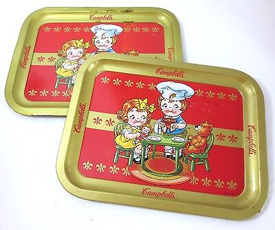 """Campbell's Soup Tray LOT of 2 Kids Dine With Teddy 14"""" x 11"""""""