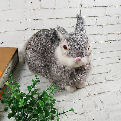 Lifelike Realistic Grey Rabbit Easter Home Decor Figurine Bunny Fur Furry Animal