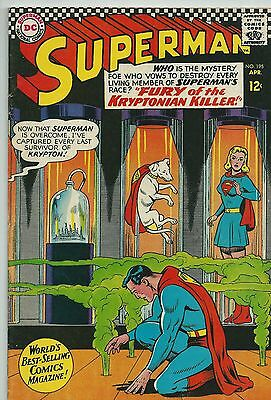 Superman #195! Curt Swan Cover! 1967 Silver Age!  Gd/vg