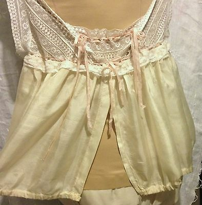 Antique Edwardian Silk W/ Ribbon And Lace Split Front Camisole Rare Estate Find