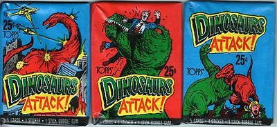 Dinosaurs Attack Set of 3 Trading Card Wax Packs Vintage 1988
