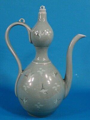 Vintage Korean Celadon Slip Decorated Crane Double Gourd Pitcher/Pot with Lid
