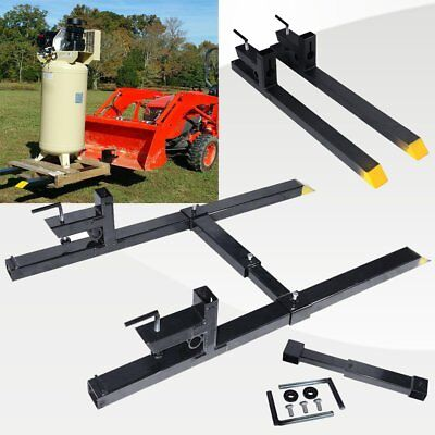 1500lbs/4000lbs Clamp on Pallet Forks w/ Adjustable Stabilizer Bar LW for loader