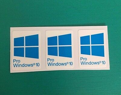 3x Windows 10 Pro | Blue Cyan Color | Sticker Badge Logo Decal Win 10 USA Seller