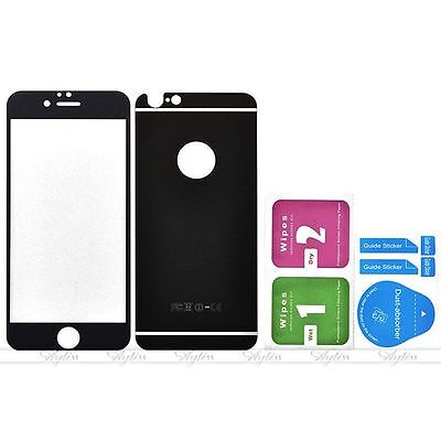 Black Front & Back Mirror Tempered Glass Screen Protector Cover for iPhone 6/6s