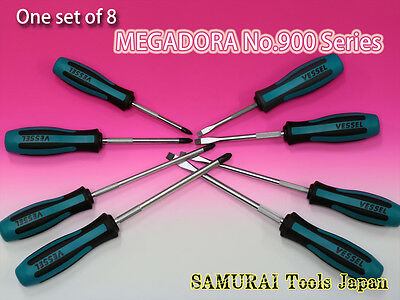 1set of 8, VESSEL Megadora, Screwdriver No.900 series 8pcs, Made in JAPAN