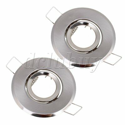 2 x MR11 Downlight Fitting Gimble Satin Chrome with Lamp Holder 70mm Cutout