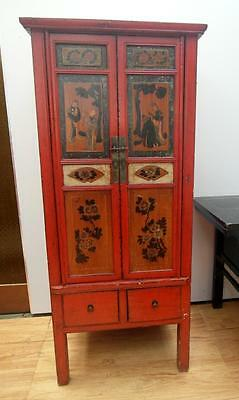 ANTIQUE Timber ASIAN Chinese ORIENTAL Cupboard CABINET Red PAINTED Adelaide QZZQ
