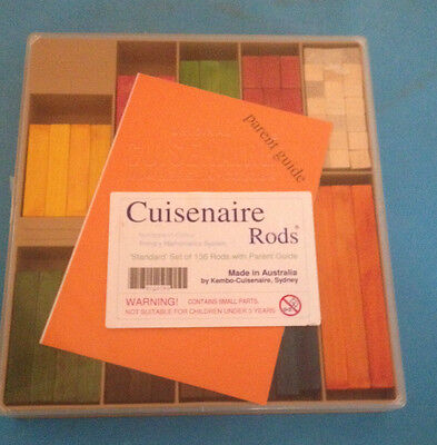 CUISENAIRE Rods  for PRIMARY SCHOOL  + PARENT GUIDE HELP with maths! 136 Wooden