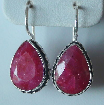 NATURAL RUBY EARRINGS 925 STERLING SILVER 31.55 CT, FINE Estate Jewelry