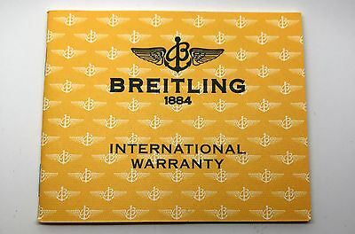 Unused Blank Breitling Warranty Booklet