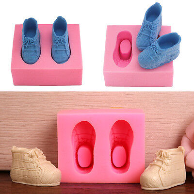 3D Baby Shoes Fondant Silicone Mould Icing Cake Chocolate Bake Soap Mold DIY