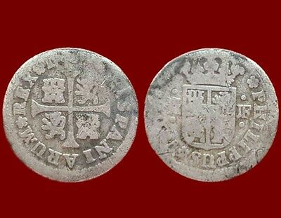 *Prados* SPANISH COLONIAL COIN SILVER 1/2 REAL PHILIP V, MINT MADRID