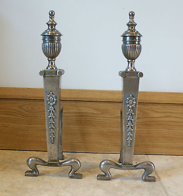 ANTIQUE Burnished Iron Fire Dogs Pair Andirons Fireplace Silver Steel Carved 2kg