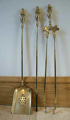 Antique Brass Fire Companion Set of Three Poker Tongs Fireplace