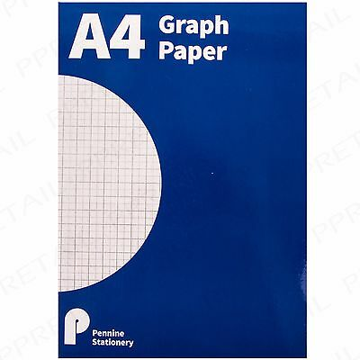 A4 MATH PAD GRAPH PAPER 2/10/20mm Square Grid 100 Page School Office Workbook
