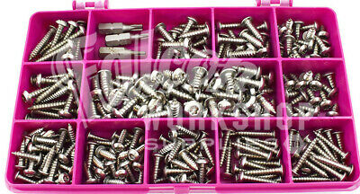 302 ASSORTED 6g 8g STAINLESS SECURITY PIN POZI PAN SELF TAPPING SCREWS KIT