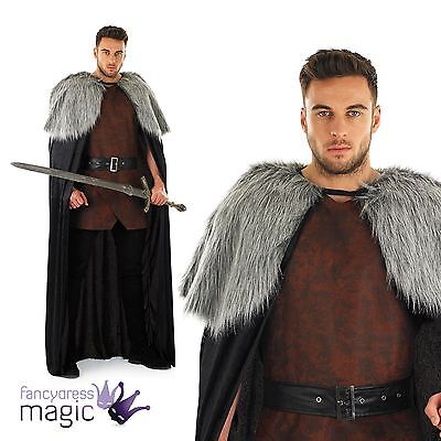Mens Long Medieval Fur Cape Jon Snow Game Of Thrones Fancy Dress Costume Outfit