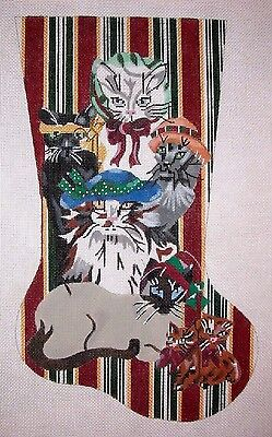 kw 667 cat family christmas stocking hp hand painted needlepoint canvas