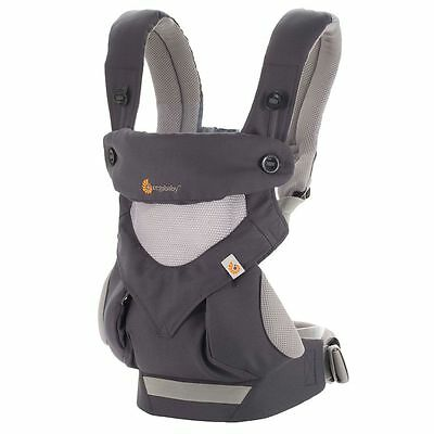 NEW Ergobaby 360 Four Position, Ergo Baby Carrier - -COOL AIR CARBON GREY