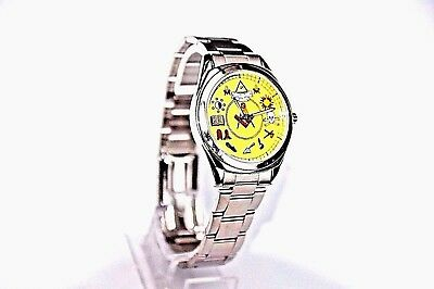 Masonic Wrist Watch Silver In Colour Superb Detailing Of Masonic Symbol Coloured