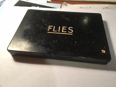 Antique fishing fly case with casts, flies etc.