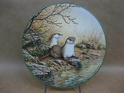 """Royal Doulton """"Otter Pair On A River Bank"""" China Plate ~ W.F.Rollinson ~ Ltd.Ed."""