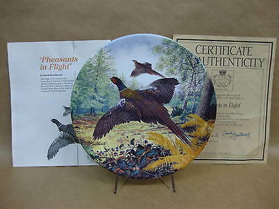 """Royal Grafton """"Pheasants In Flight"""" Collector Plate ~ Game Birds ~ & Certificate"""