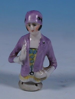 Antique German Porcelain Pin Cushion Half Doll Flapper Girl Figure c1920 16495