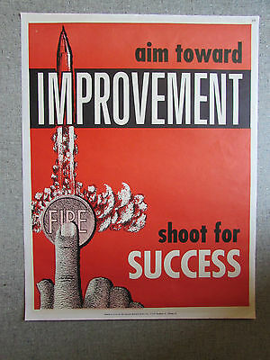 Improvement Aim Toward Success National Research Bureau School Poster 1960's